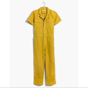 Madewell Short Sleeve Coverall Jumpsuit in Yellow